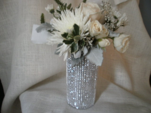 Rhinestone Crystal Ribbon Bouquet Vases Centerpiece Bling
