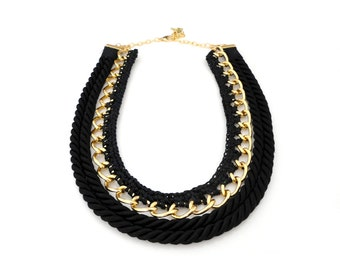 SALE - Rope Chain Crochet Statement Necklace