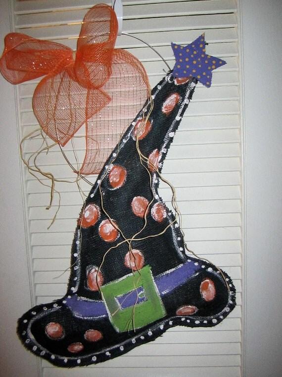 Burlap Witch Hat Door Hanging Decoration