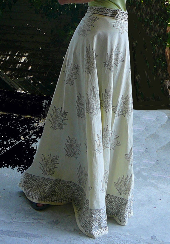 Pure Cotton Circular Wrap Around Maxi Skirt Gopi Skirt Off