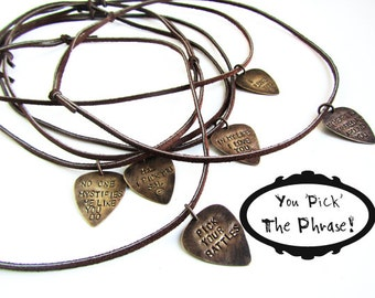 fathers day gift for men, guitar pick Men's Necklace Gift for him - personalized gift, handmade jewelry, custom mens necklace, leather, man