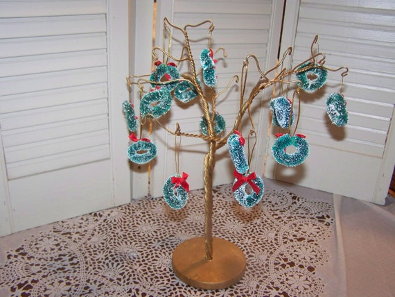 Metal wire Christmas tree ornament holder stand 15 miniature