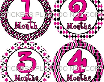 Baby Month Stickers Plus FREE Gift Girl Monthly Milestone Stickers Pink Black Mixed Cheetah Heart Flower Diamond 1-12m Baby Age Stickers