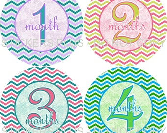Baby Girl Monthly Milestone Stickers    - Colorful Chevron Blue Pink Green Lilac Yellow  - 1-12 Months - Shower