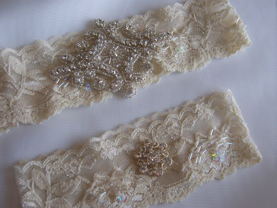 Wedding Garter Ivory Stretch Lace Wedding Garter Set Beaded Ivory Gorgeous Tiara Crystal Cluster on Vintage Inspired Lace.