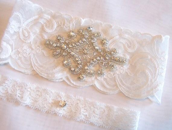 Bridal Garter Lite Ivory or Ivory Stretch Lace Wedding Garter Set With Crystals Diamond Wedding