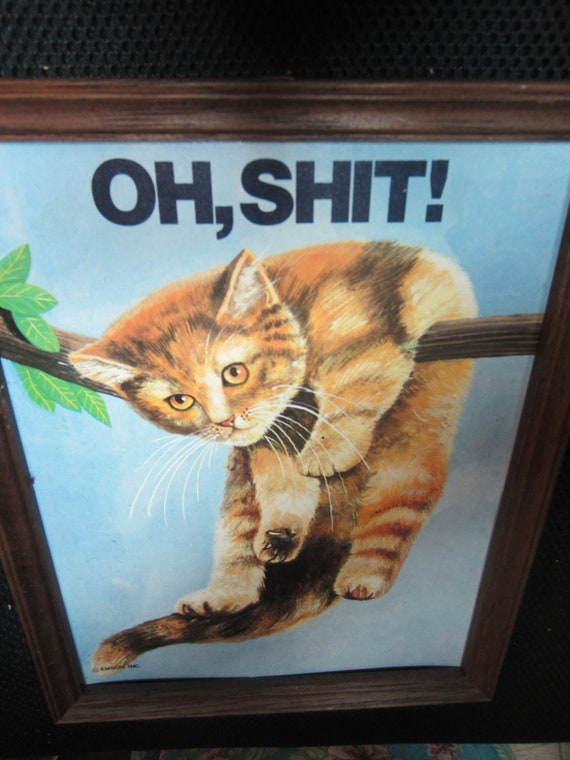 OH, SHIT Cat hanging on tree branch framed art by Emson Inc. made in Taiwan kitschy retro humor novelty