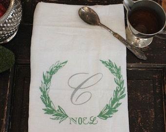 Christmas Towels-3- Kitchen Towels- Flour Sack Towels -Tea Towel - Christmas Monogrammed Towel - Dish Towel- Kitchen Towel-Holiday Gift