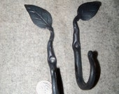 Pair Hand Forged Leaf Hooks made by Blacksmith