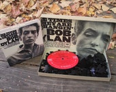 """Vintage LP Record Puzzle, Bob Dylan """"The Times They Are A-Changin' """"- 70 pieces, Handcrafted, Repurposed"""