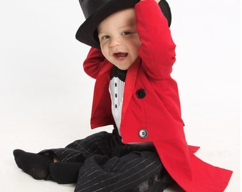 Circus Ringmaster Costume -3 Piece Tuxedo Jacket Fully Lined with Tails, Tuxedo Onesie or T-Shirt and Tuxedo Pants - Birthday, Carnival