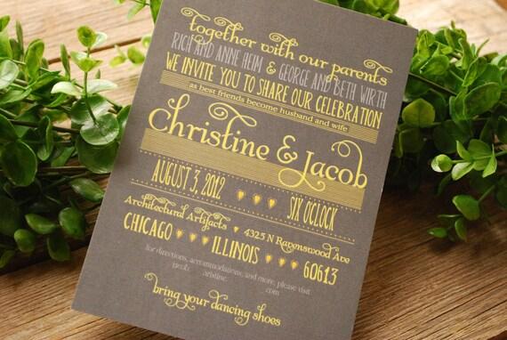 Wedding Invitation - Grey and Yellow