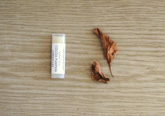 Cocoa Pumpkin Cheesecake Lip Balm, Beeswax, Shea Butter, Fall Leaves