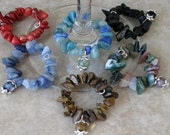 Wine Charms - Set of Six Natural Gemstone Beads & Chips