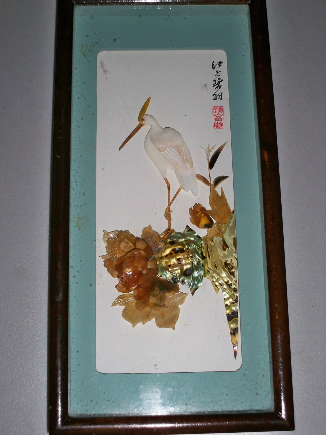 Vintage Japanese Shell Art Wall Hanging In By