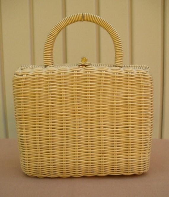 vintage wicker purse 50s 60s framed wicker box satchel purse bag rockabilly mad men