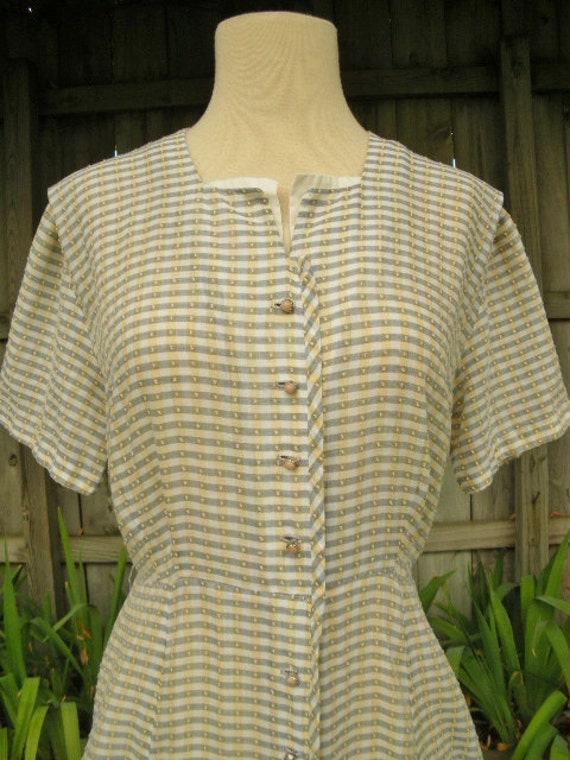 vintage 40s dress lindy swing house dress l b40 button down dress 14 buttons
