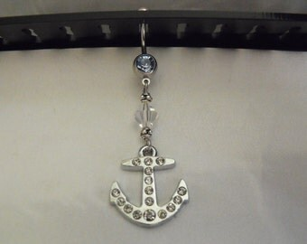 Belly ring,   Nautical Anchor With Rhinestones  Womens Gift  Handmade