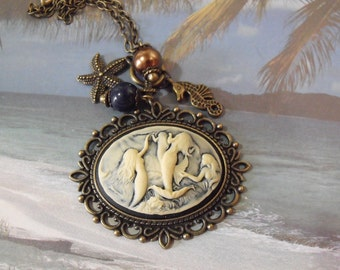 Cameo Pendant Necklace,   Nautical Mermaid Cameo With Pearls And Charms Bronze  Womes Gift