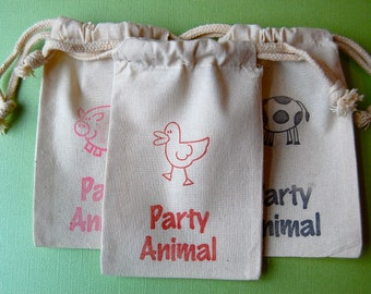 Farm Animal Muslin Bag/ Party Animal /  Barnyard Party / Set of 50 / Perfect for Birthday Party Favors