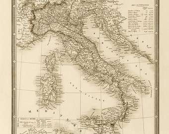 1864 Map of Italy