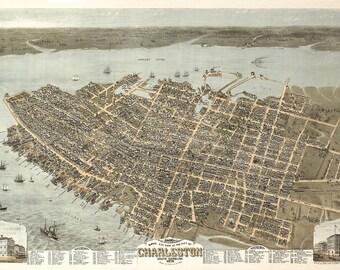 1872 Panoramic View of Charleston