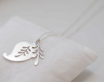 Silver Paisley and Leaf necklace