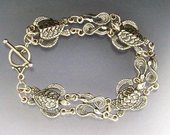 Sea Turtle and Kelp Link Bracelet