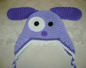 READY TO SHIP - 6 to 12 Months - Purple Puppy Crocheted Hat