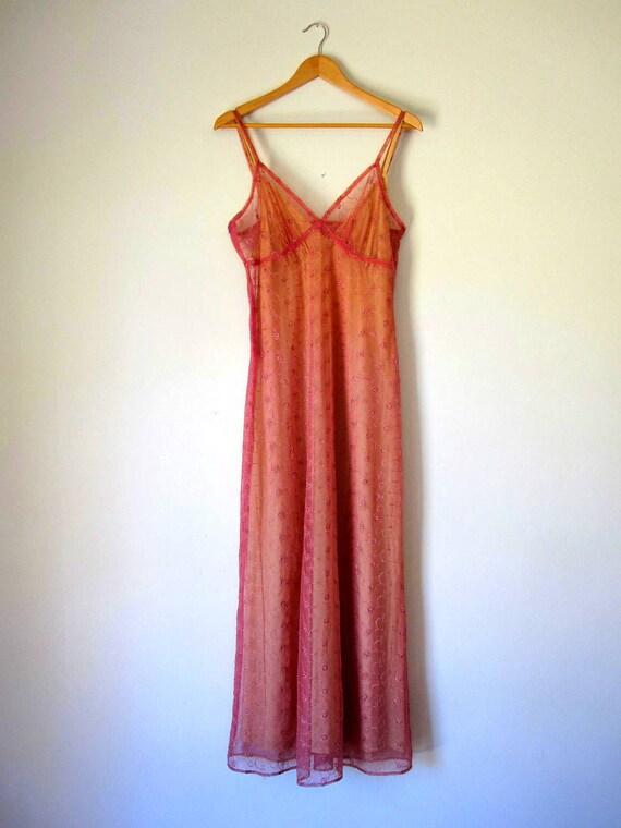 S A L E //  Vintage 90s Dusty Rose Lace Maxi Dress