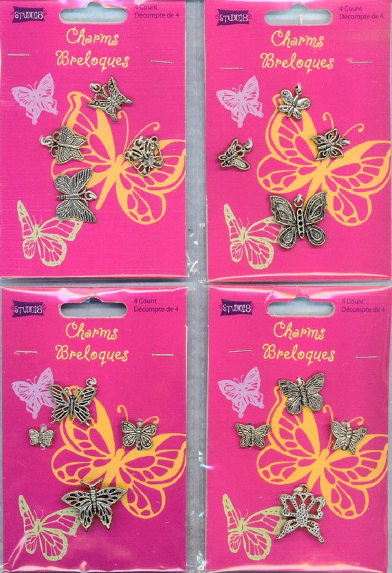 BUTTERFLY Charms Lot 16 Many Sizes All Different