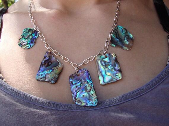 New Zealand rainbow abalone charm necklace