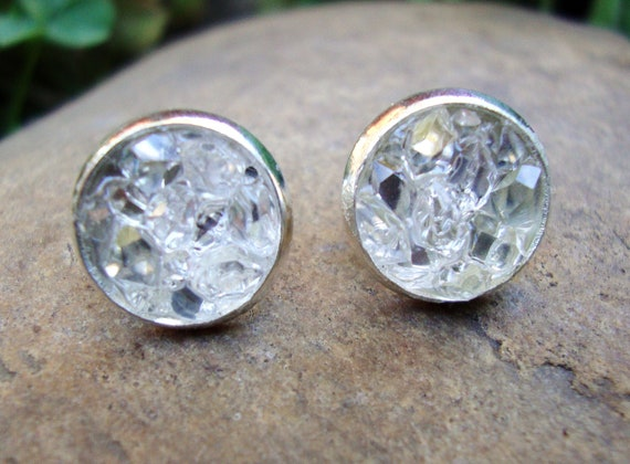 BLING BLING  large icy 10mm AAA plus grade raw herkimer diamond earrings