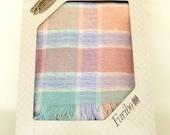 Pastel Colors Faribo Throw Blanket Wool Acrylic - Vintage