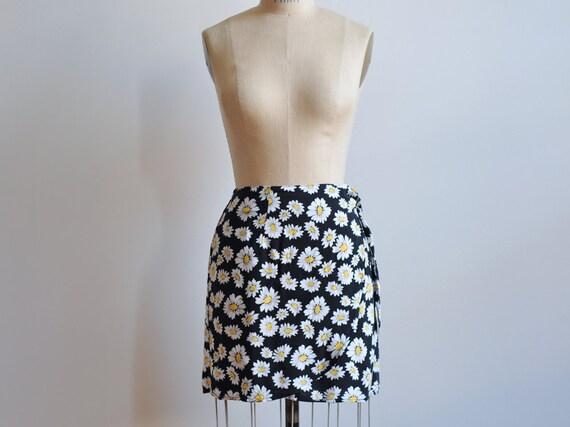 Vintage 1990s Sunflower Mini Skirt / Black Wrap Skirt Size Medium