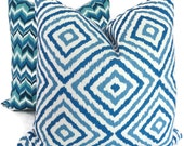 Jonathan Adler Blue and Turquoise Diamond Ikat Pillow Cover 18x18, 20x20, 22x22, 12x24 or 14x20 Throw Pillow, Accent Pillow