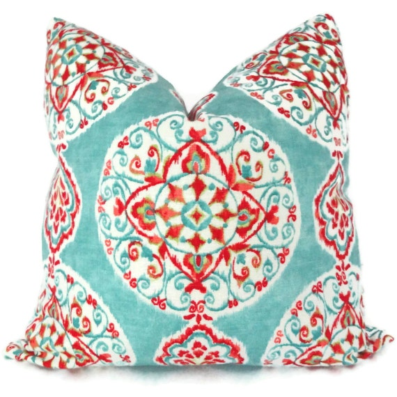 Turquoise and Orange Suzani Decorative Pillow Cover, Toss Pillow, Throw Pillow