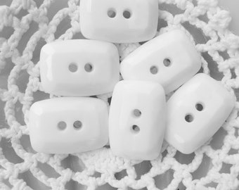 White Rectangle Buttons Vintage Set of 25