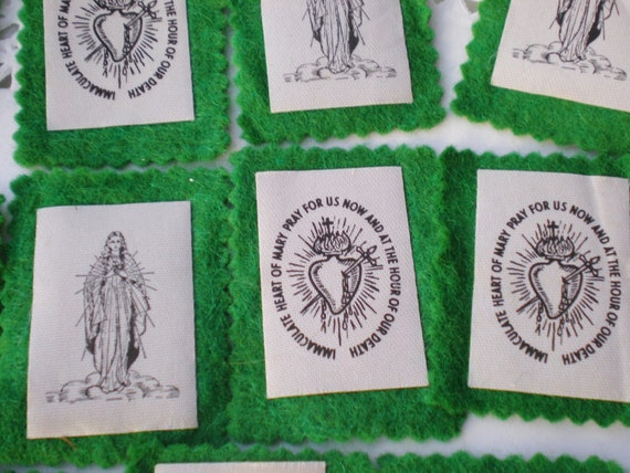 Vintage Green Scapular Immaculate Heart Mary Prayer 22 Pieces