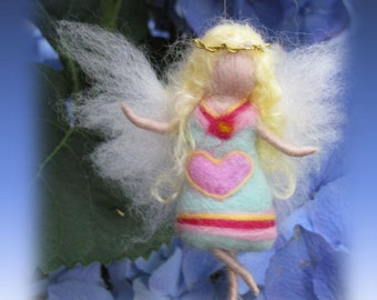 Nelly - Needle Felted Wool guardian angel, Waldorf inspired fairy doll, wool