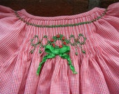Christmas Daygown Smocked for a Newborn Baby