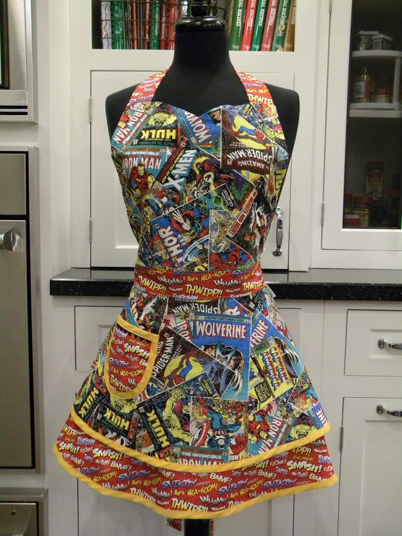 LAST ONE-Avengers-Comic Strip Heroes Double Skirt Sweetheart Apron