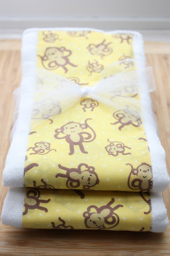 SALE Neutral Yellow Monkey Set of 2 Burp Cloths