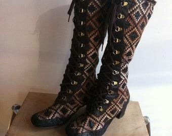 Vintage 60's  carpet gogo boots