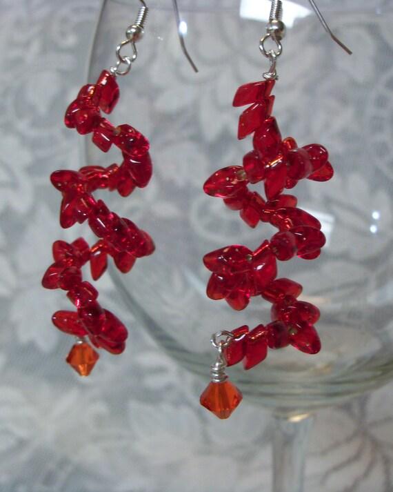 Red Earrings - Ruby Red Earrings - Spiral Earrings - Unique Red Earrings - Crystal Earrings - Beaded Earrings