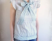 Polka Dot Cotton Blouse With Frills and Bow 70s Tunic