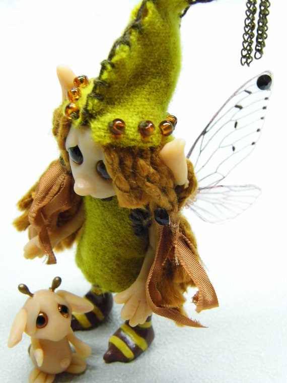 "OOAK Handmade Polymer Clay Woodland Fairie Fairy ""Permelia"" And Little Friend ""Pyek"""