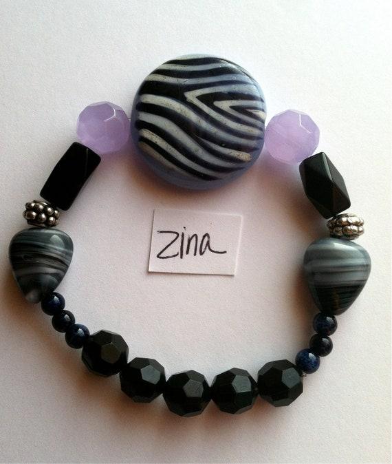 Zina bracelet Zebra Animal Print Glass Beaded Elastic Funky Zoo Striped Abstract Girly Preppy Modern Black Purple Blue Jewelry
