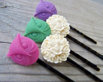 Bobby Pins Set of Five Hair Pins Owls Flowers
