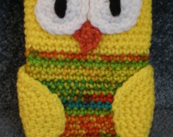 Made to order Hand Crocheted Owl iPhone Cell Phone Cover Bag Case Yellow Orange multi colors Fall Autumn Colors Owl